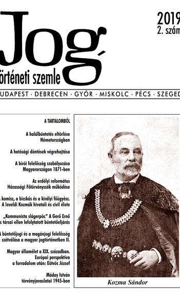 Megjelent a Jogtörténeti Szemle 2019/2. száma